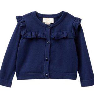 Kate Spade Baby Girl Navy Blue Ruffled Sweater